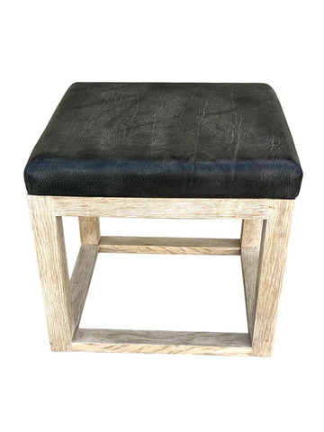 Limited Edition Oak and Vintage Leather Stool 35873
