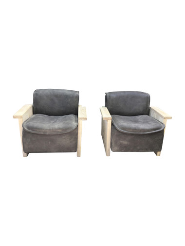 Pair of Limited Edition Vintage Leather and Oak Arm Chairs 35752