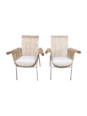 Pair of French Mid Century Iron Armchairs 31841