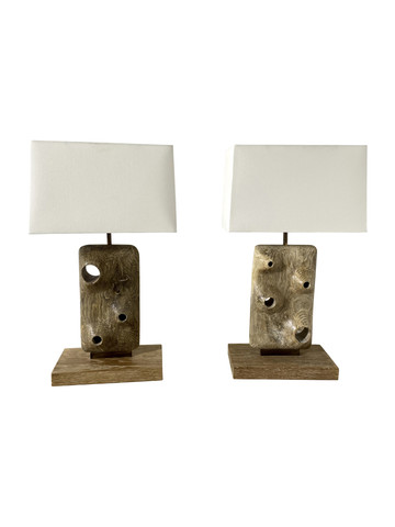 Limited Edition Pair of Organic Wood Lamps 36842