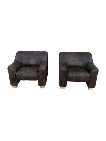 Pair of DeSede Leather Armchairs 35520