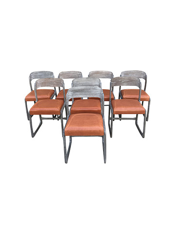 Set of (8) Danish Dining Chairs With Leather Seats 34988