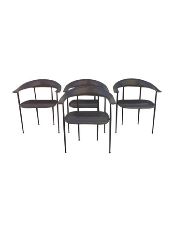 Set of (4) Italian Stitched Leather Dining Chairs 33710
