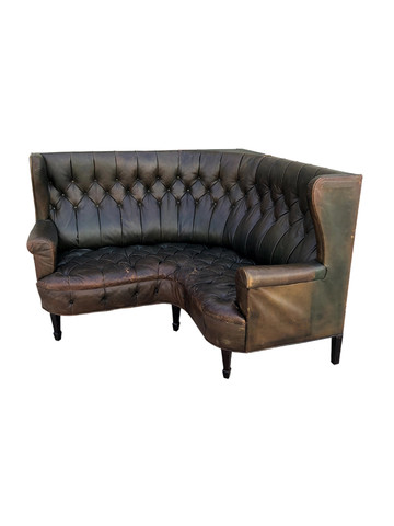 19th Century Tufted Wing Back Leather Corner Sofa 34846