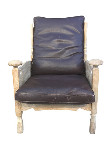 Single Mid Century French Oak Arm Chair 31926
