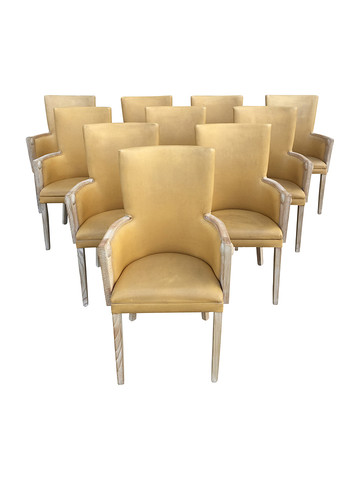 Set of 10 French Mid Century Dining Chairs 31418