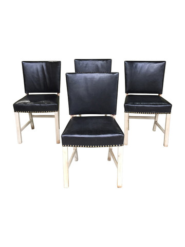 Set of (4) Danish Black Leather Dining Chairs 34387