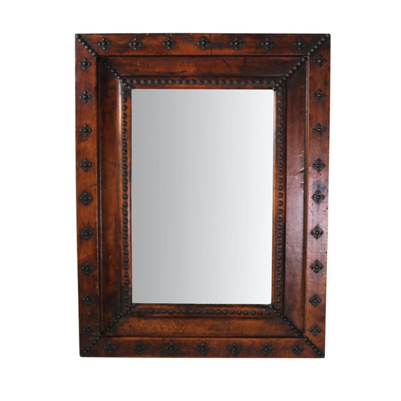 Lucca Antiques - Wall Decor: Spanish Leather Frame Mirror