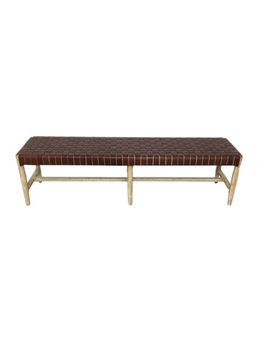 Limited Editio Oak and Woven Leather Bench 36350
