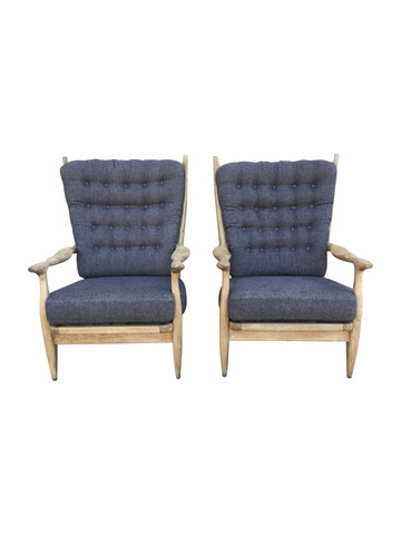 Pair of Guillerme et Chambron Cerused Oak Armchairs 36043