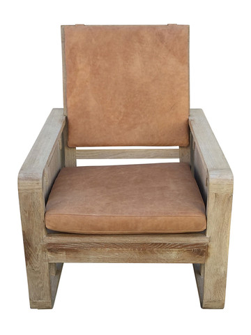 Single Limited Edition Oak and Leather Armchair 32257