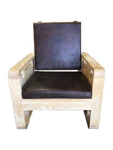 Single Limited Edition Oak and Leather Arm Chair 34499