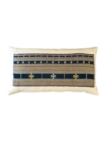 Antique Moroccan Indigo and Embroidery Textile Pillow 35366