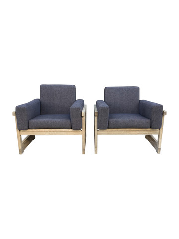 Pair of Limited Edition Oak Arm Chairs 36210
