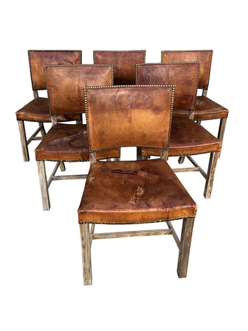 Set of (6) Danish Leather Dining Chairs 36865