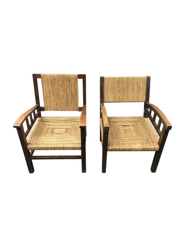 Pair of French Arm Chairs of Rope 35696