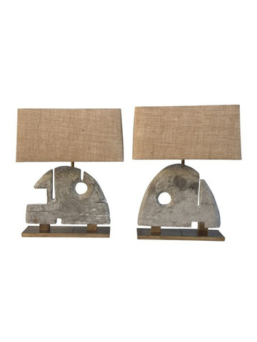 Pair of Limited Edition Modernist Wood Element Lamps 36773