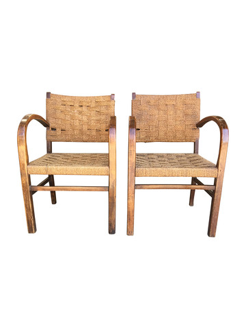 Pair of Mid Century Rope and Oak Chairs 34130