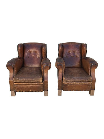Pair of French 1940's Club Chairs 36427
