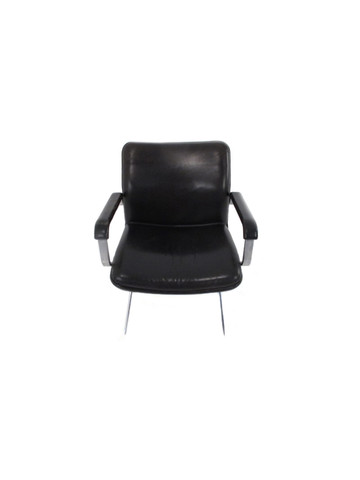 French Mid Century Black Leather Desk Chair 28912