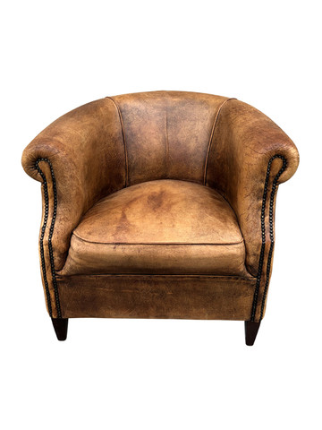 Single French 1930's Leather Armchair 34950