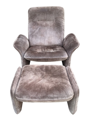 Vintage DeSede Suede Arm Chair and Ottoman 35965