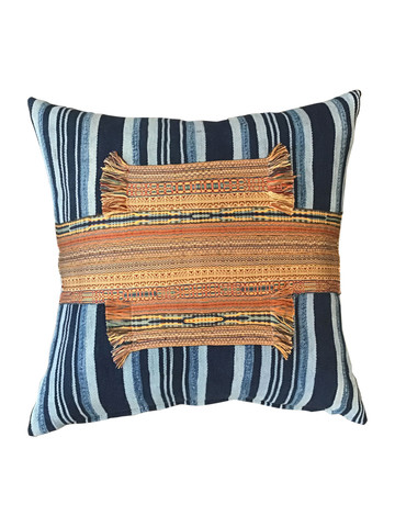 Antique African Striped Indigo and Moroccan Element Textile Pillow 35388