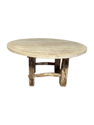 Limited Edition Oak and Primitive Element Base Dining Table 38214