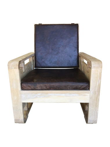 Single Limited Edition Oak and Leather Arm Chair 34367