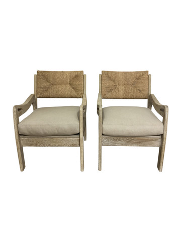 Pair of Limited Edition Woven Oak Arm Chairs 36871