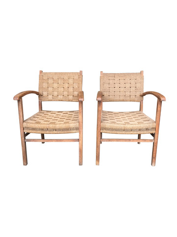 Pair of Mid Century French Rope Chairs 35021