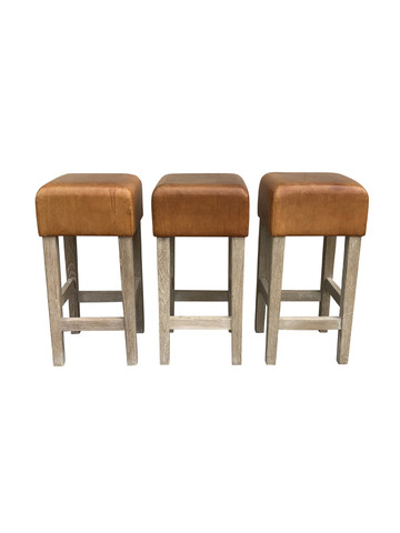 Set of (3) Belgian leather and oak stools 32010