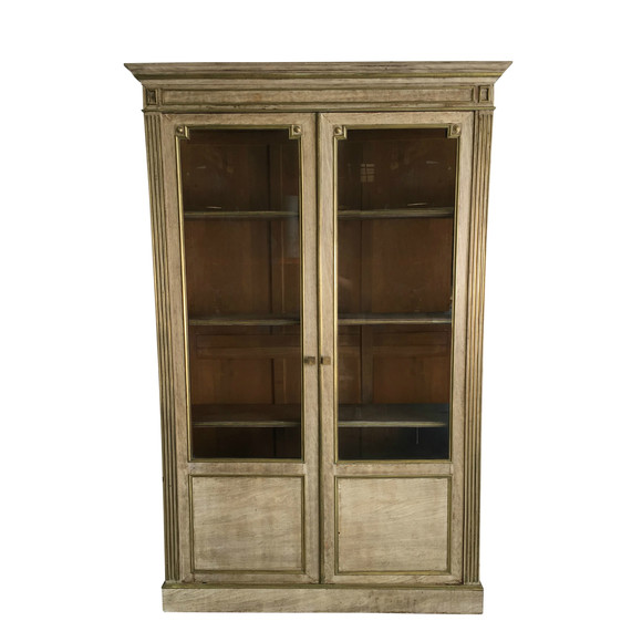 Lucca Antiques Case Goods French Oak Tall Cabinet With Glass Doors