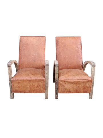 Pair of Mid Century French Leather Arm Chairs 35140