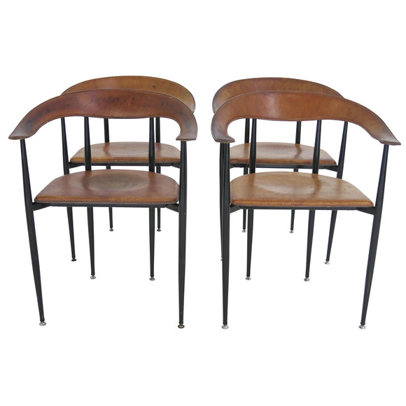 Brilliant Lucca Antiques Seating Set Of 4 Italian Saddle Leather Ibusinesslaw Wood Chair Design Ideas Ibusinesslaworg