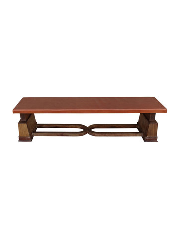 French Oak Bench With Vintage Leather 26192