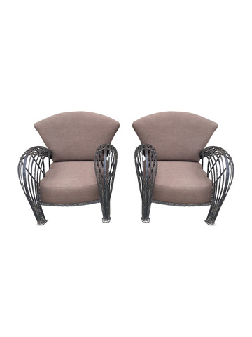 Pair of French 1920's Iron Armchairs 34520