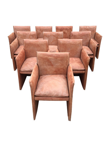 Set of (10) Vintage Cassina Leather Dining Chairs 32269