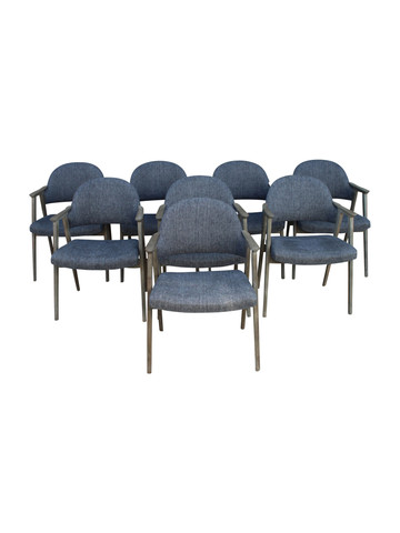 Set of (8) French Oak Dining Chairs 25939