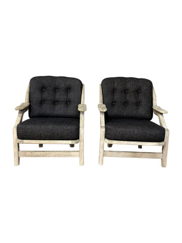 Pair of Guillerme & Chambron Oak Arm Chairs 36839