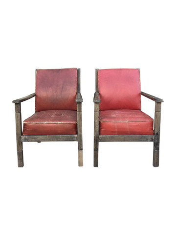 Pair of French Red Leather Armchairs 36069