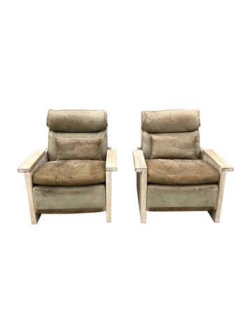 Limited Edition Pair of Leather and Oak Armchairs 35674
