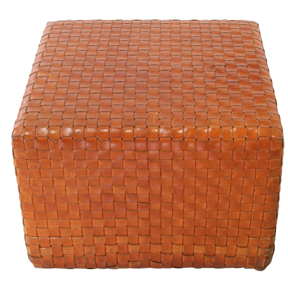 Groovy Lucca Antiques Seating Stitched Woven Saddle Leather Ottoman Lamtechconsult Wood Chair Design Ideas Lamtechconsultcom