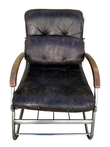 Single French Vintage Chrome with Leather Cushions Armchair 35116