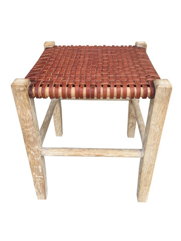 Limited Edition Woven Leather Stool 36194
